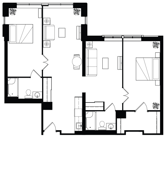 floorplan of 2 Bedroom at On the Ave