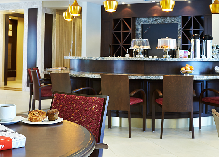 Bistro lounge at Amica Unionville senior living residence.
