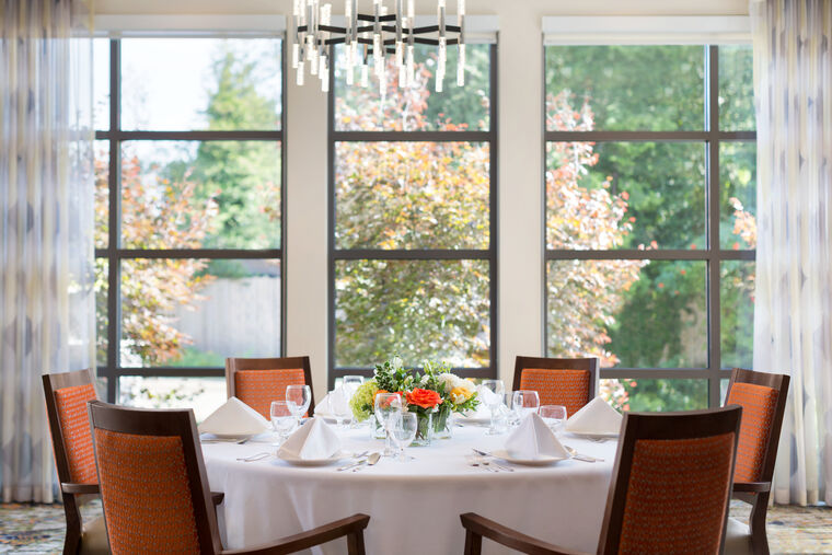 A table inside the main dining room at Amica Edgemont Village