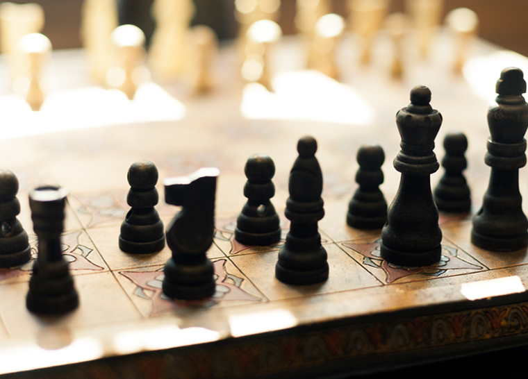 Amenities panel chess board at Amica senior living residence.